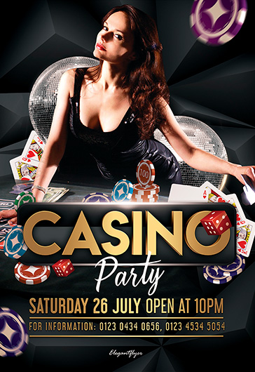 Casino Party – Free PSD Flyer Template + Facebook Cover + Instagram Post