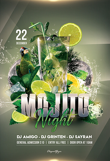Mojito Party – PSD Flyer Template + Facebook Cover + Instagram Post
