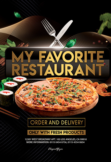 My Favorite Restaurant – Free PSD Flyer Template + Facebook Cover + Instagram Post