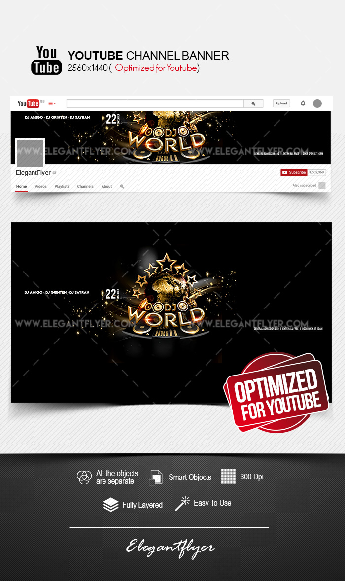 World DJs – Youtube Channel banner PSD Template