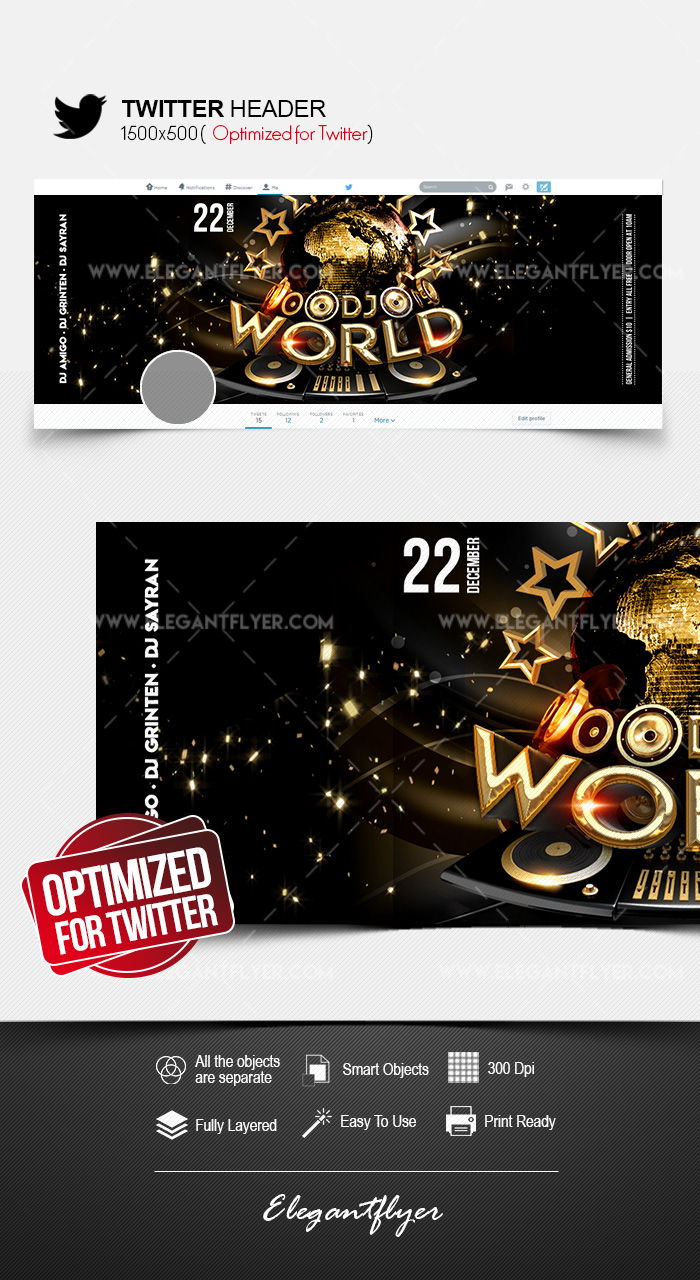 World DJs – Twitter Header PSD Template