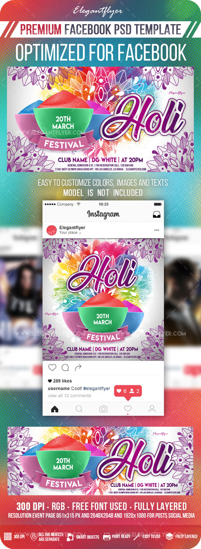 Holi Festival – Facebook Cover Template in PSD + Post + Event cover