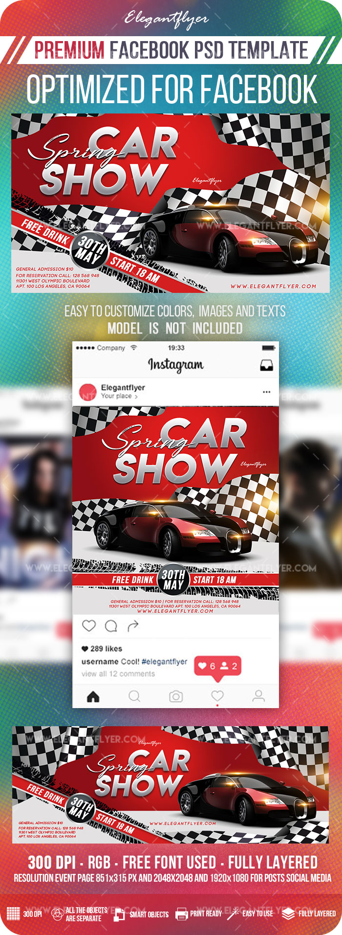 Spring Car Show – Facebook Cover Template in PSD + Post + Event cover