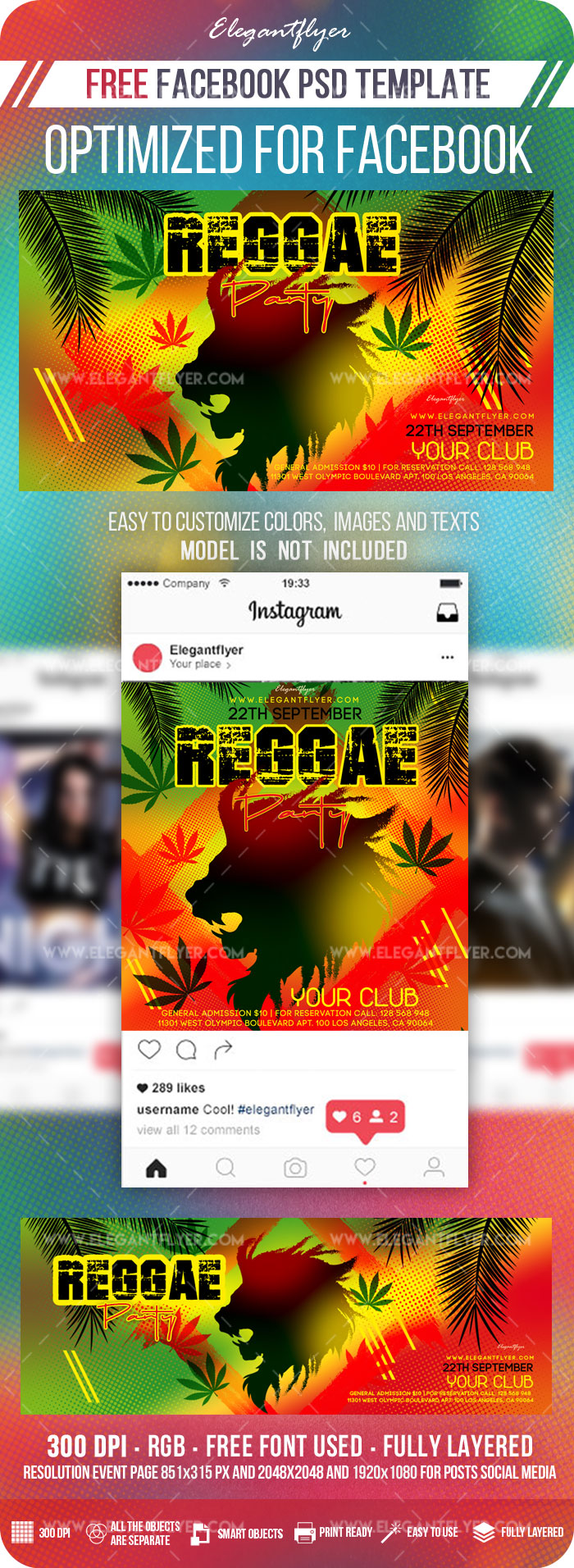 Reggae Party – Free Facebook Cover Template in PSD + Post + Event cover