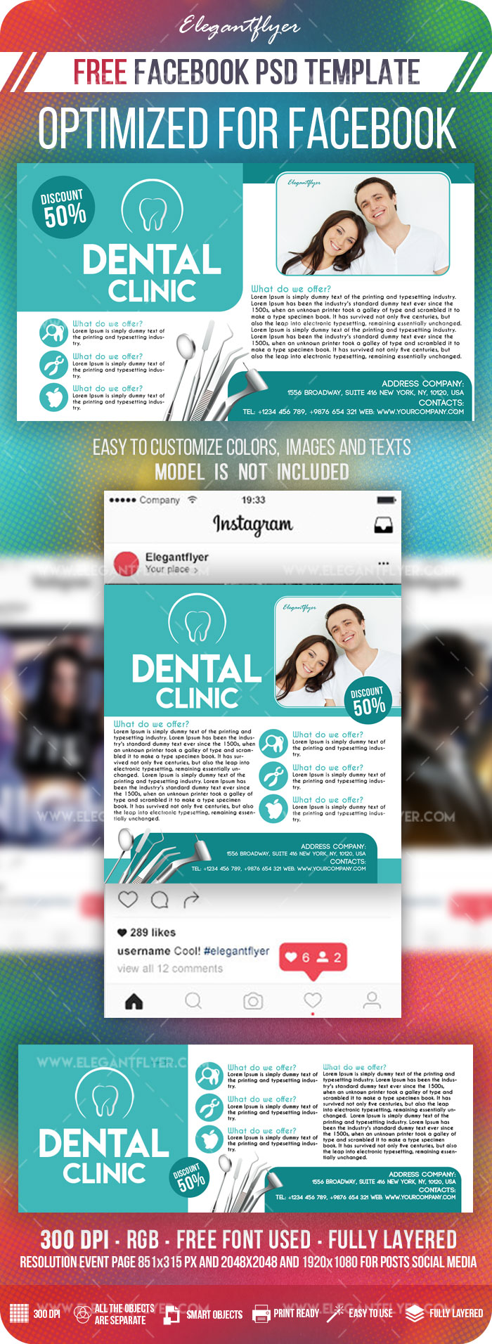Dental Clinic – Free Facebook Cover Template in PSD + Post + Event cover