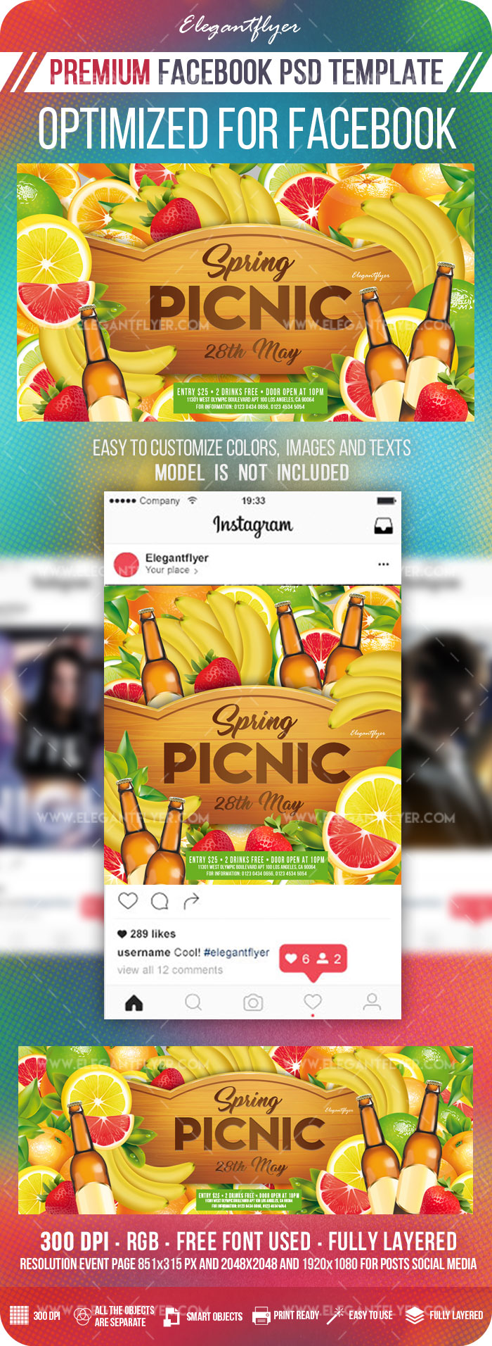 Spring Picnic – Facebook Cover Template in PSD + Post + Event cover