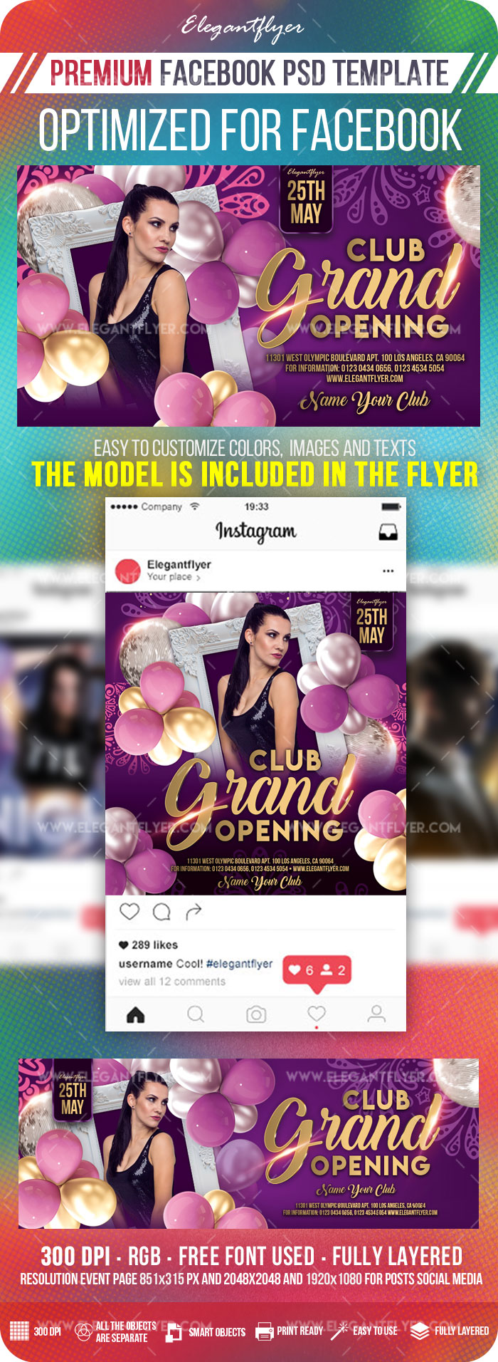 Club Grand Opening – Facebook Cover Template in PSD + Post + Event cover