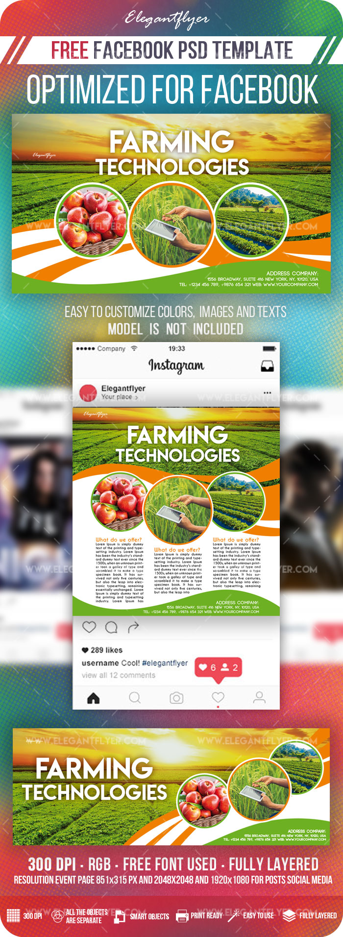 Farming Technologies – Free Facebook Cover Template in PSD + Post + Event cover