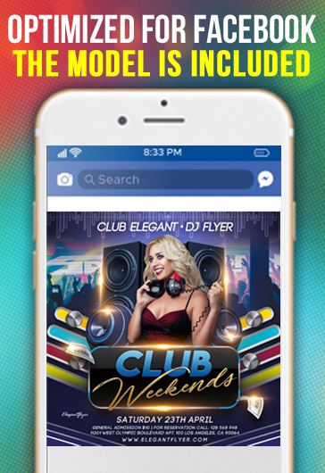 Club Weekends – Facebook Cover Template in PSD + Post + Event cover