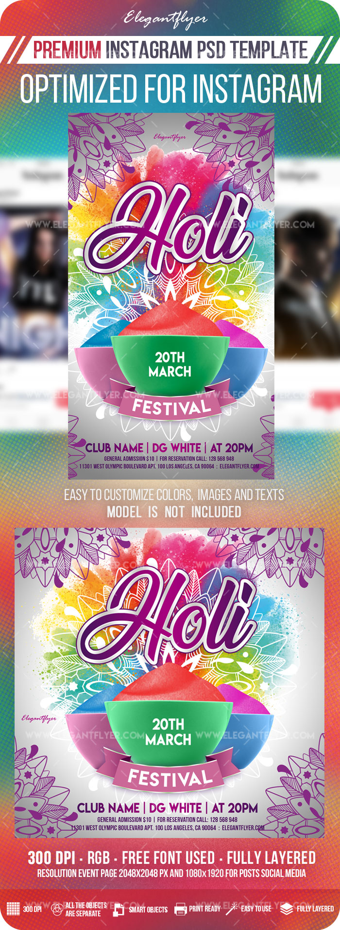 Holi Festival – Instagram Stories Template in PSD + Post Templates