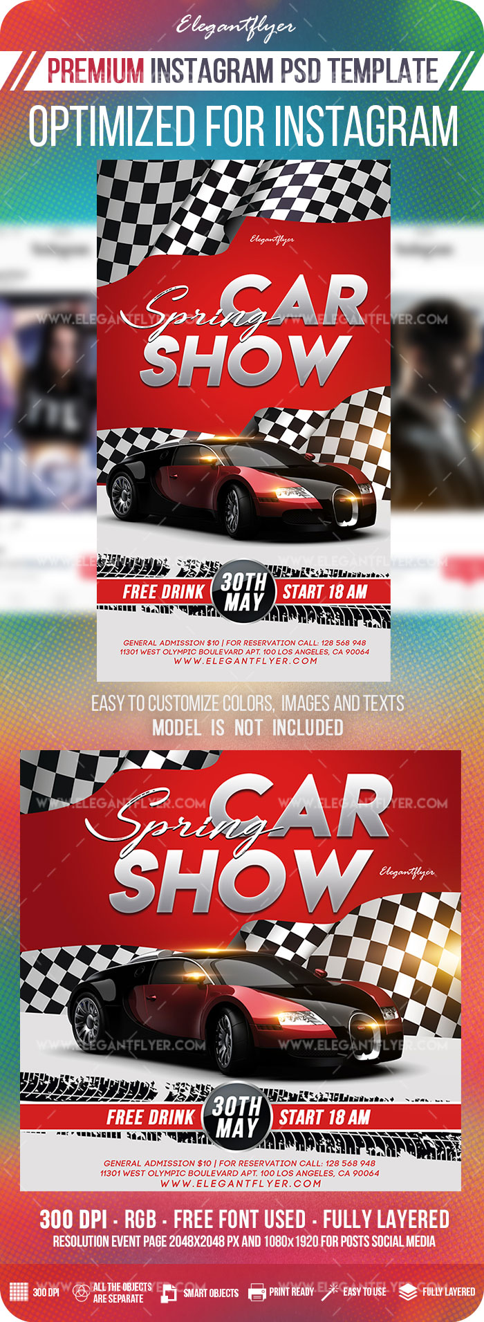 Spring Car Show – Instagram Stories Template in PSD + Post Templates
