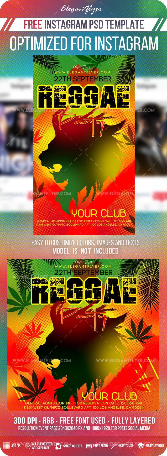 Reggae Party – Free Instagram Stories Template in PSD + Post Templates