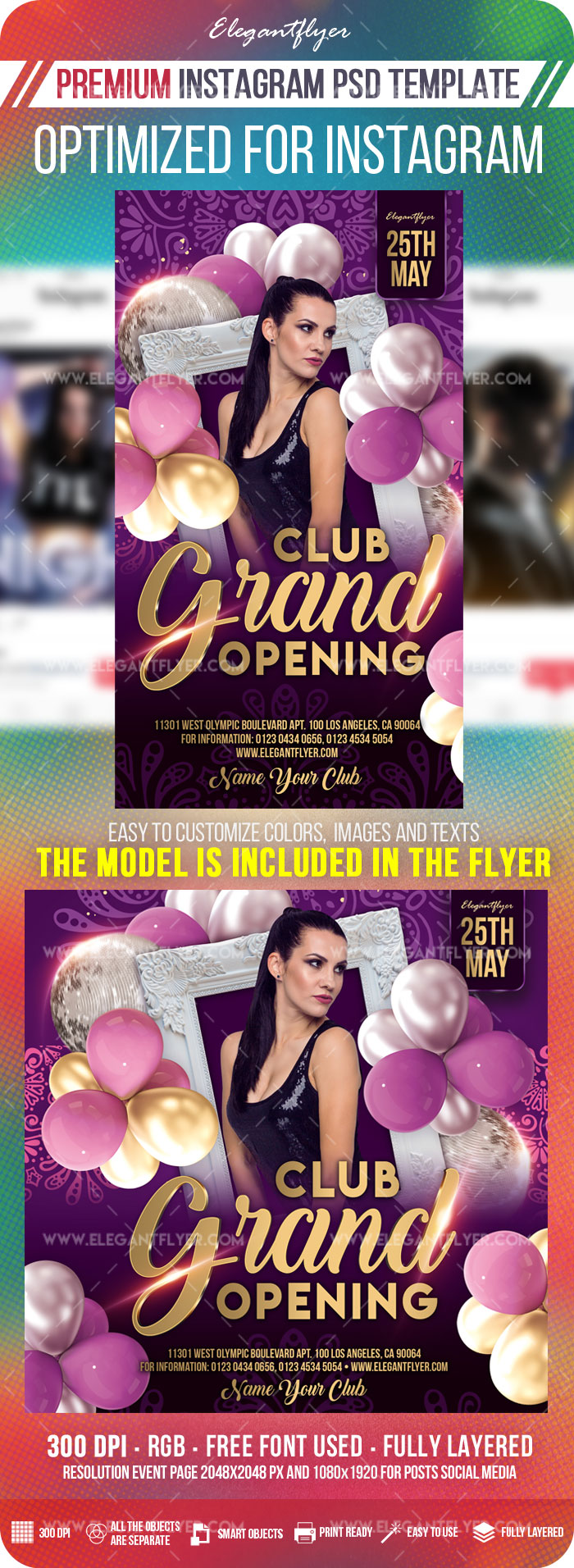 Club Grand Opening – Instagram Stories Template in PSD + Post Templates