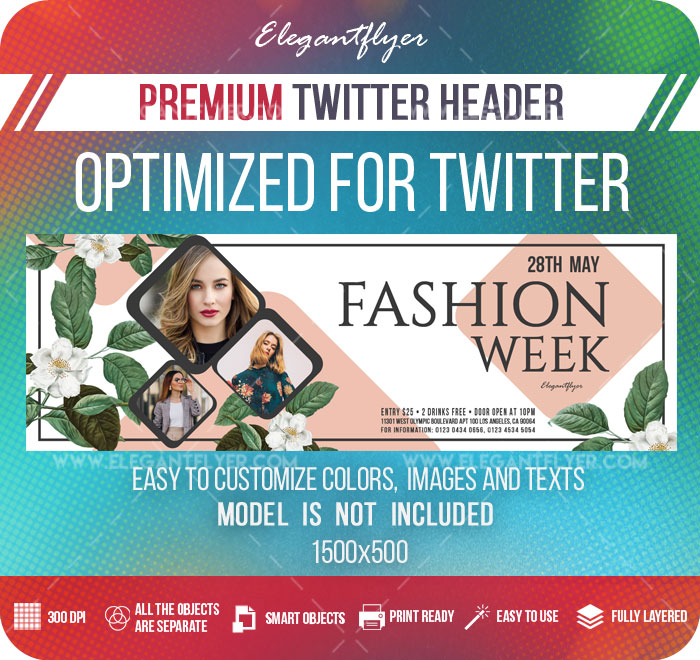 Fashion Week – Twitter Header PSD Template