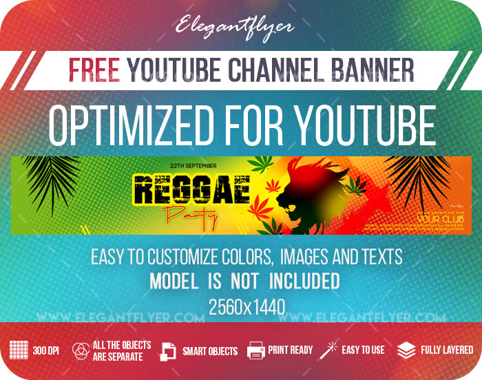 Reggae Party – Free Youtube Channel banner PSD Template