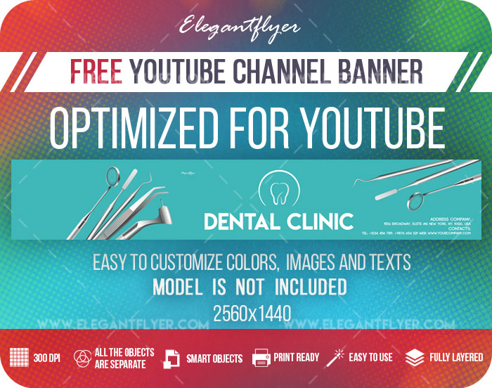 Dental Clinic – Free Youtube Channel banner PSD Template