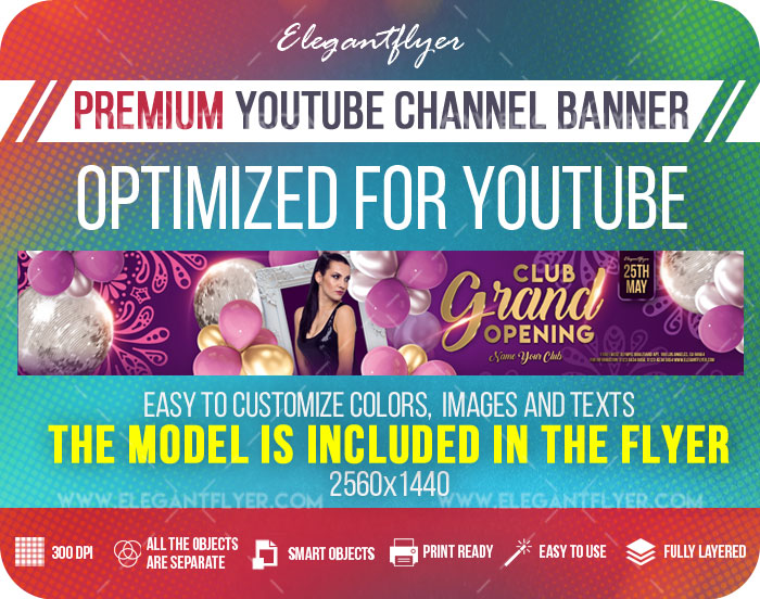 Club Grand Opening – Youtube Channel banner PSD Template