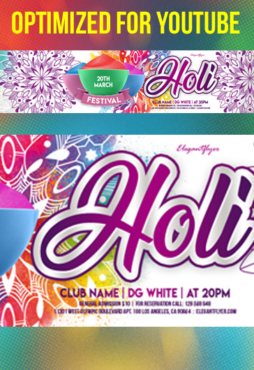 Holi Festival – Youtube Channel banner PSD Template