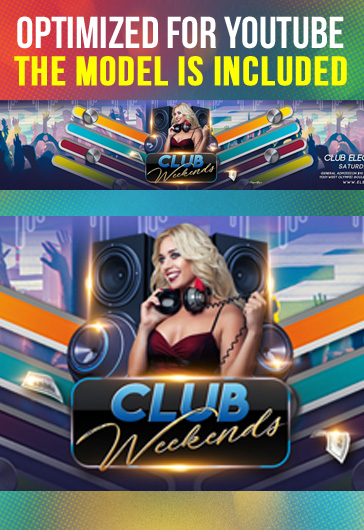 Club Weekends – Youtube Channel banner PSD Template