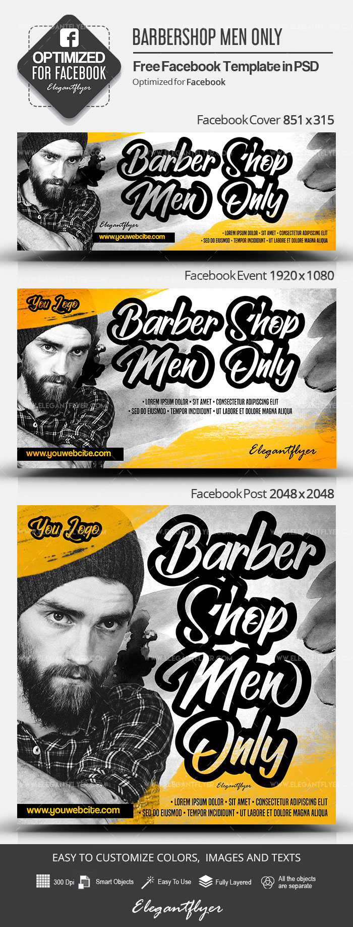 Barbershop Men Only – Free Facebook Cover Template in PSD + Post + Event cover