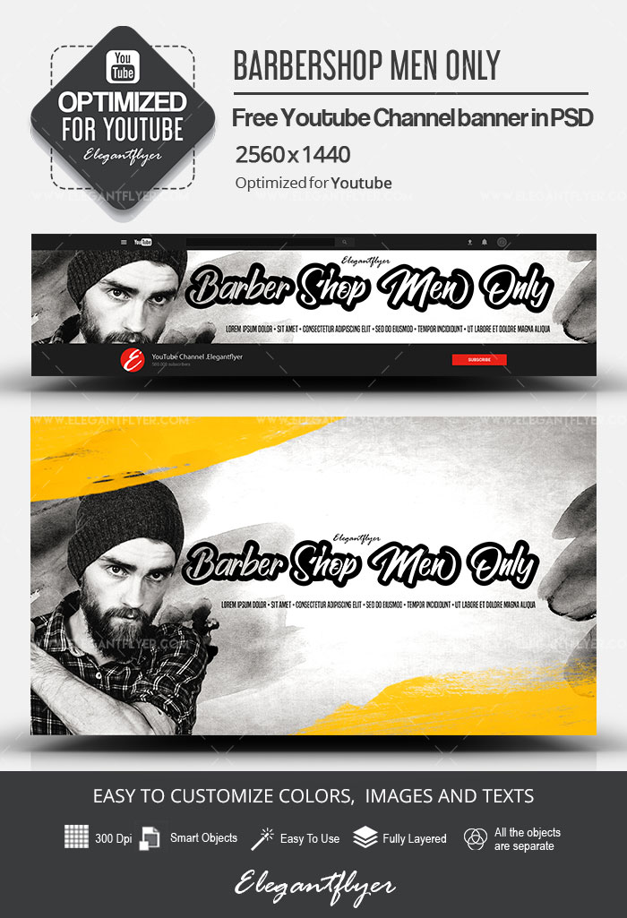 Barbershop Men Only – Free Youtube Channel banner PSD Template