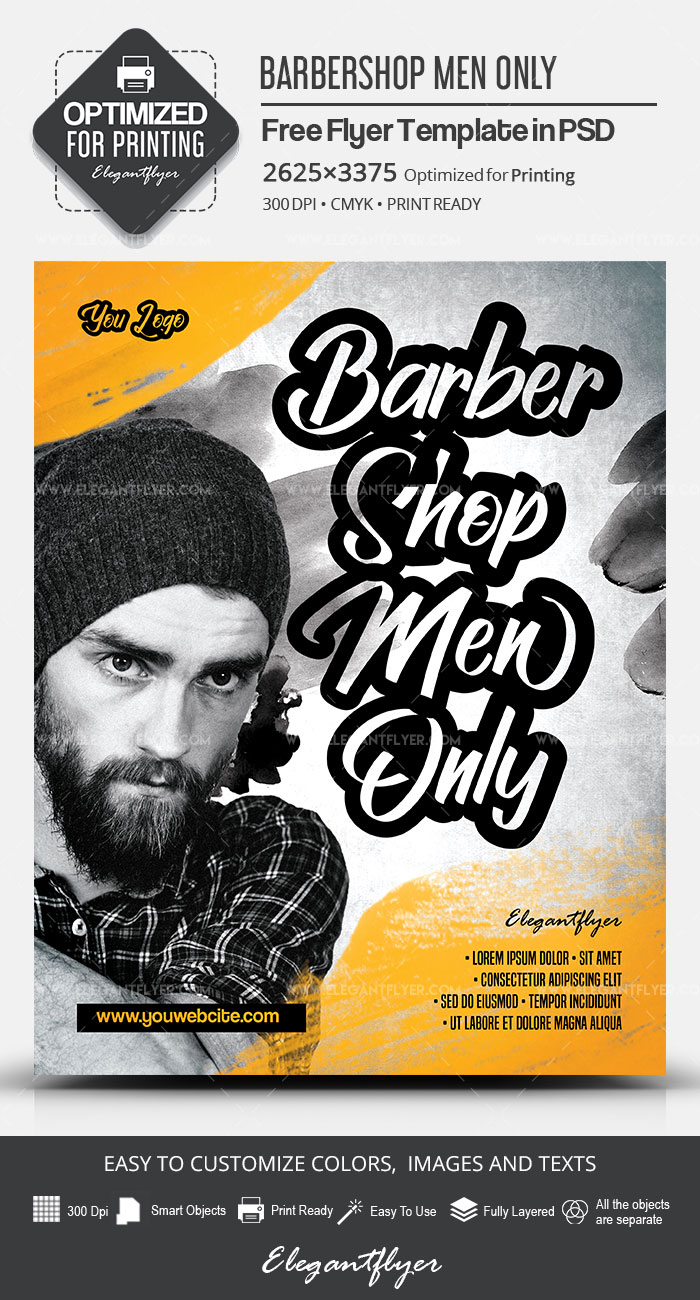 Barbershop Men Only – Free Flyer PSD Template