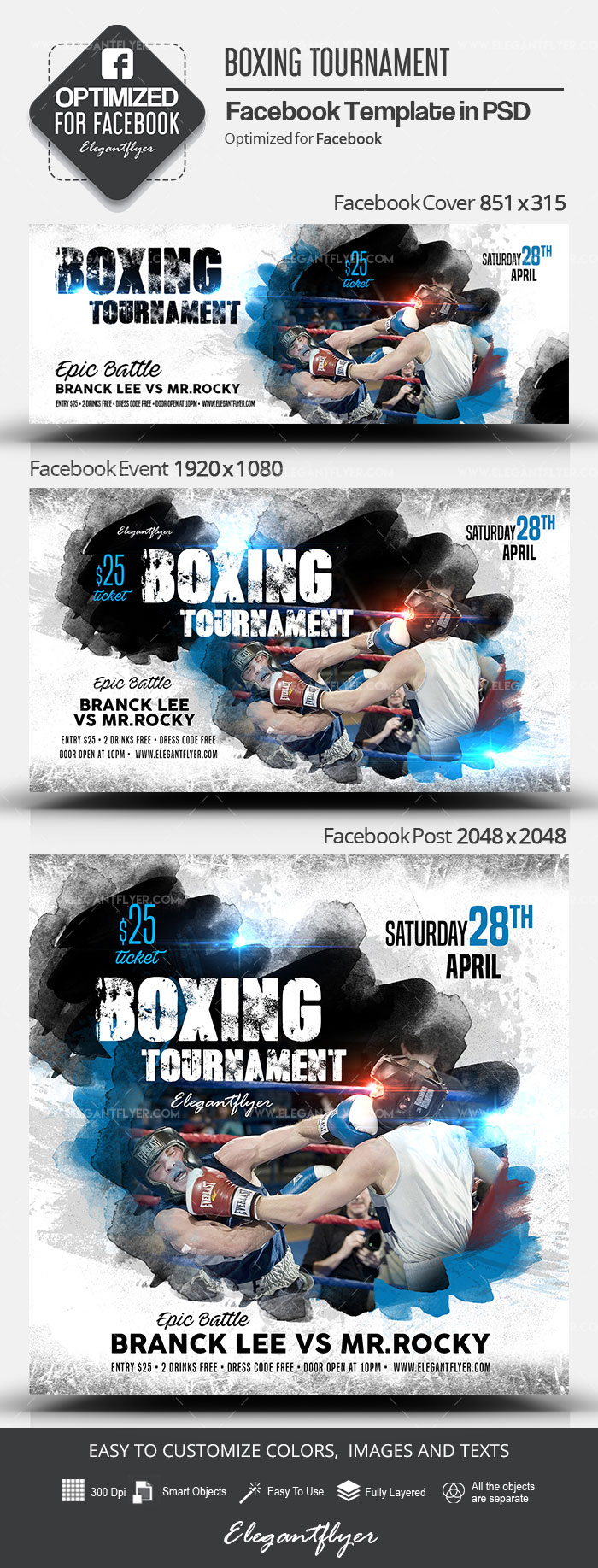 Boxing Tournament – Facebook Cover Template in PSD + Post + Event cover