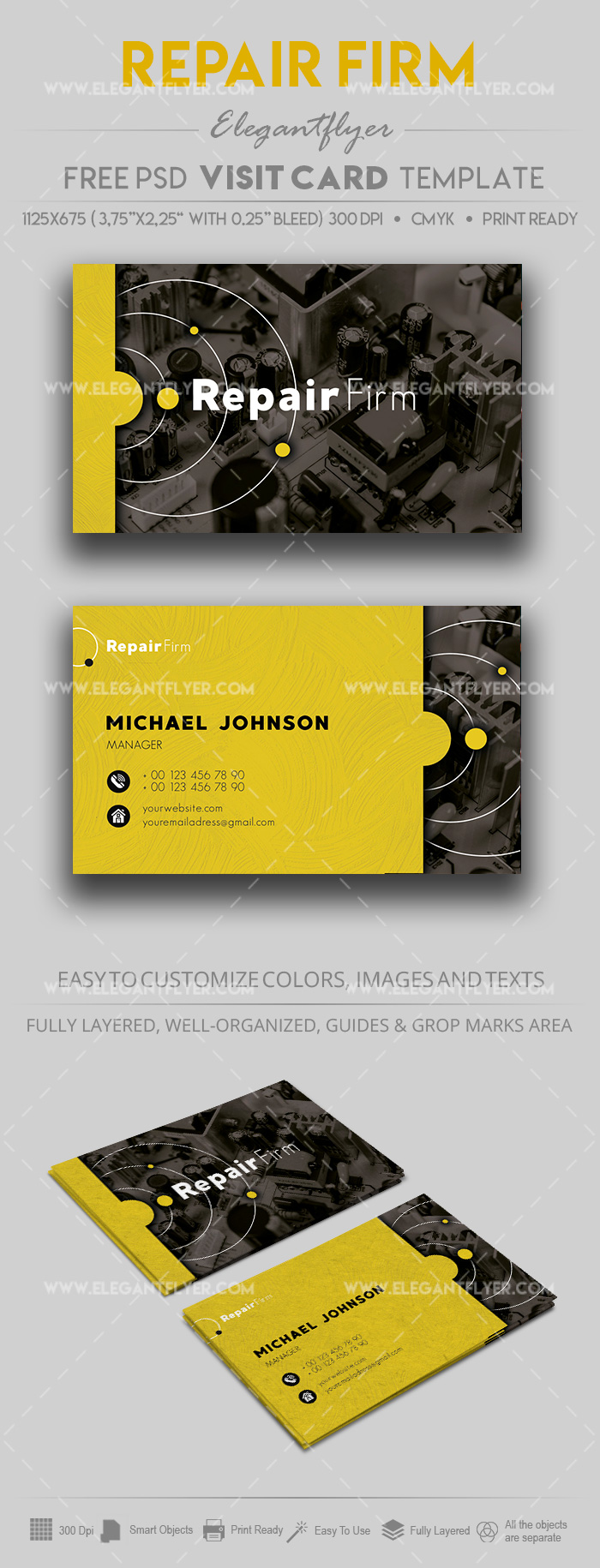 Repair of equipment – Free PSD Business Card Template