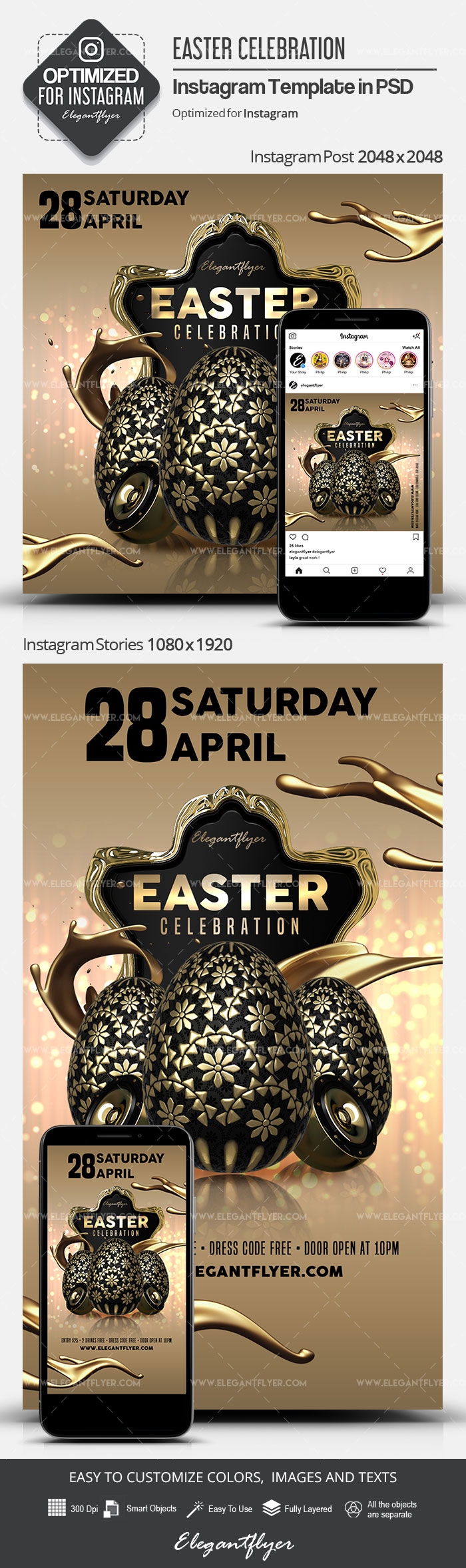 Easter Celebration – Instagram Stories Template in PSD + Post Templates