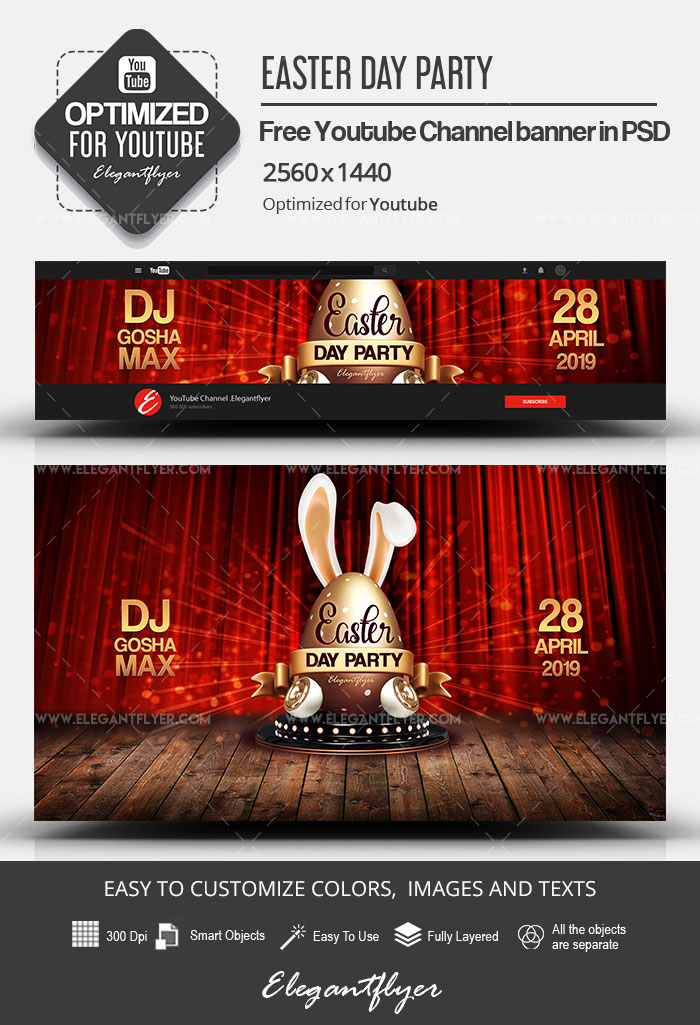 Easter Day Party – Free Youtube Channel banner PSD Template