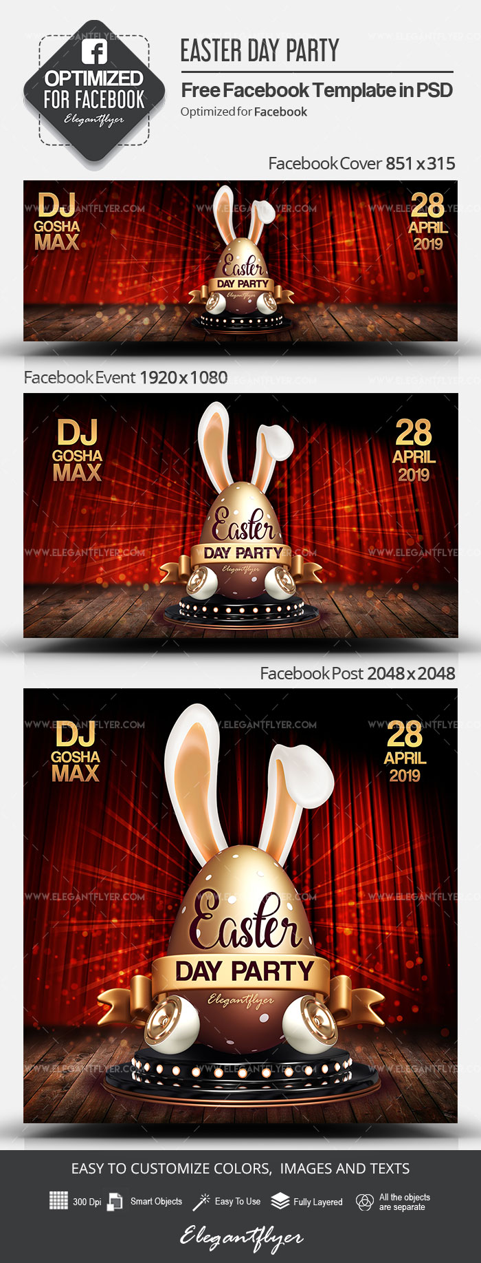 Easter Day Party – Free Facebook Cover Template in PSD + Post + Event cover