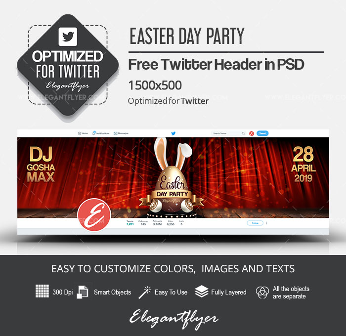 Easter Day Party – Free Twitter Header PSD Template
