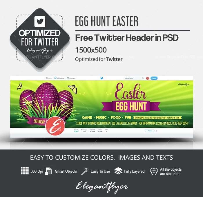Egg Hunt Easter – Free Twitter Header PSD Template