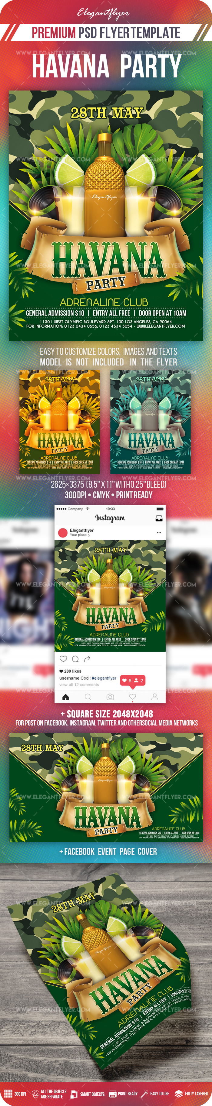 Havana Party – Flyer PSD Template + Facebook Cover + Instagram Post