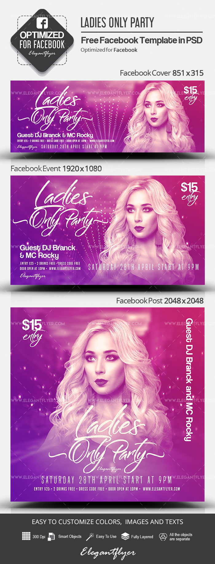 Ladies Only Party – Free Facebook Cover Template in PSD + Post + Event cover