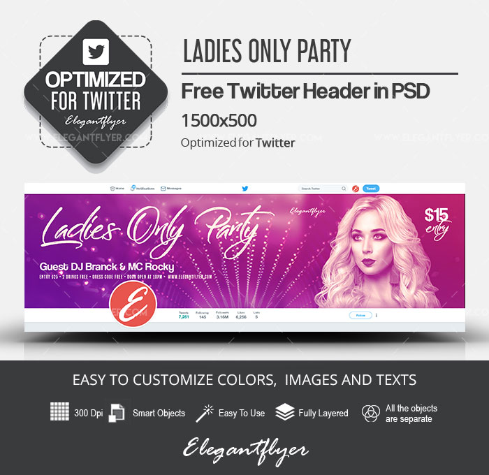 Ladies Only Party – Free Twitter Header PSD Template