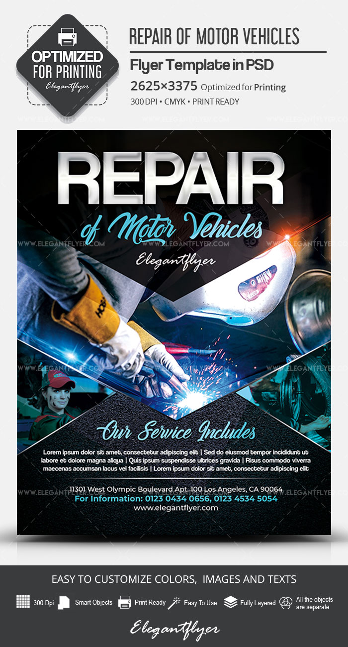 Repair of Motor Vehicles – PSD Flyer Template
