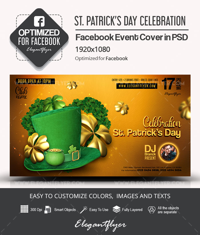 St. Patrick's Day Celebration – Facebook Event Cover PSD Template