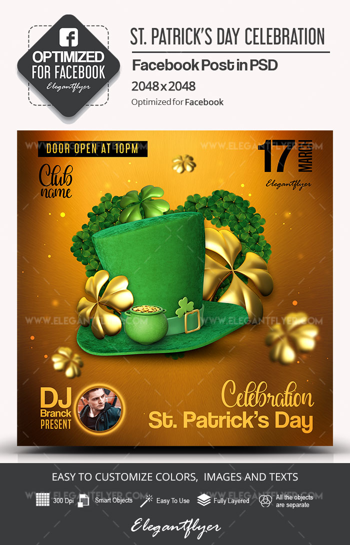 st  patrick u2019s day celebration  u2013 facebook post psd template