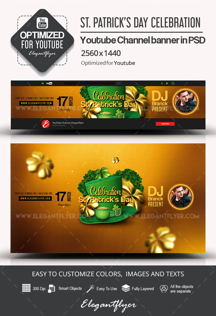 St. Patrick's Day Celebration – Youtube Channel banner PSD Template