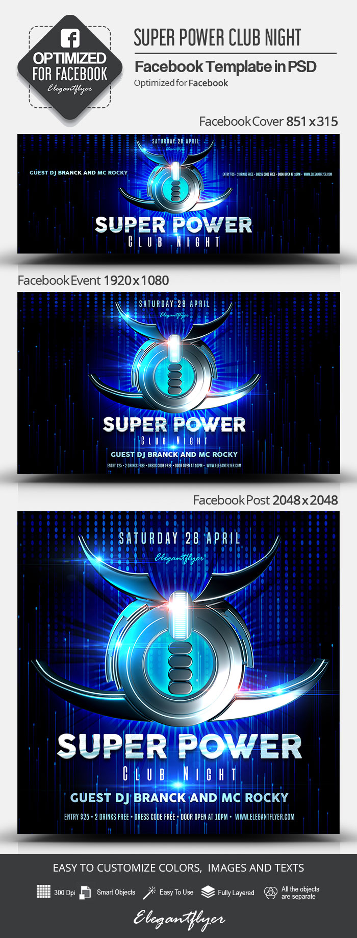 Super Power Club Night – Facebook Cover Template in PSD + Post + Event cover