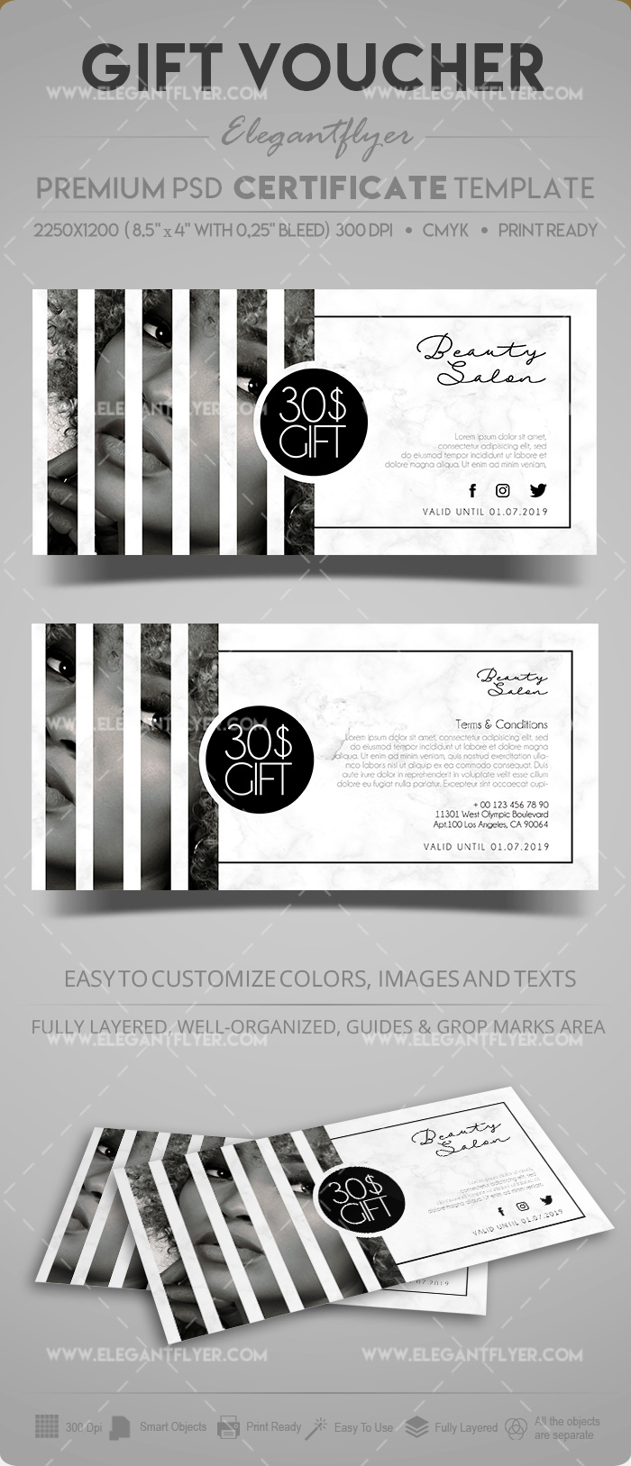 Beauty Salon – Gift Certificate Template in PSD