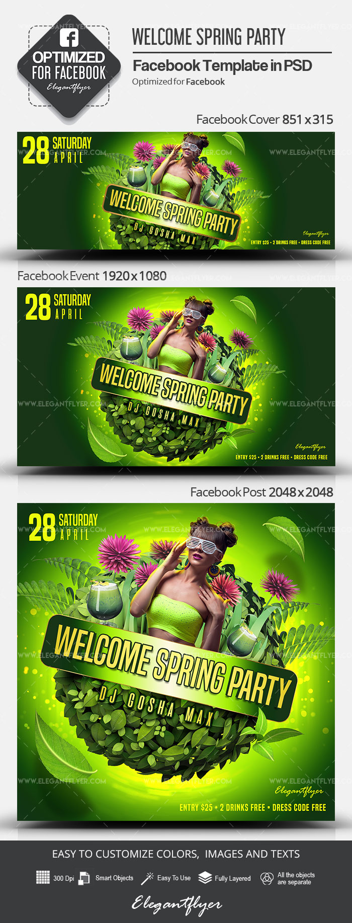 Welcome Spring Party – Facebook Cover Template in PSD + Post + Event cover