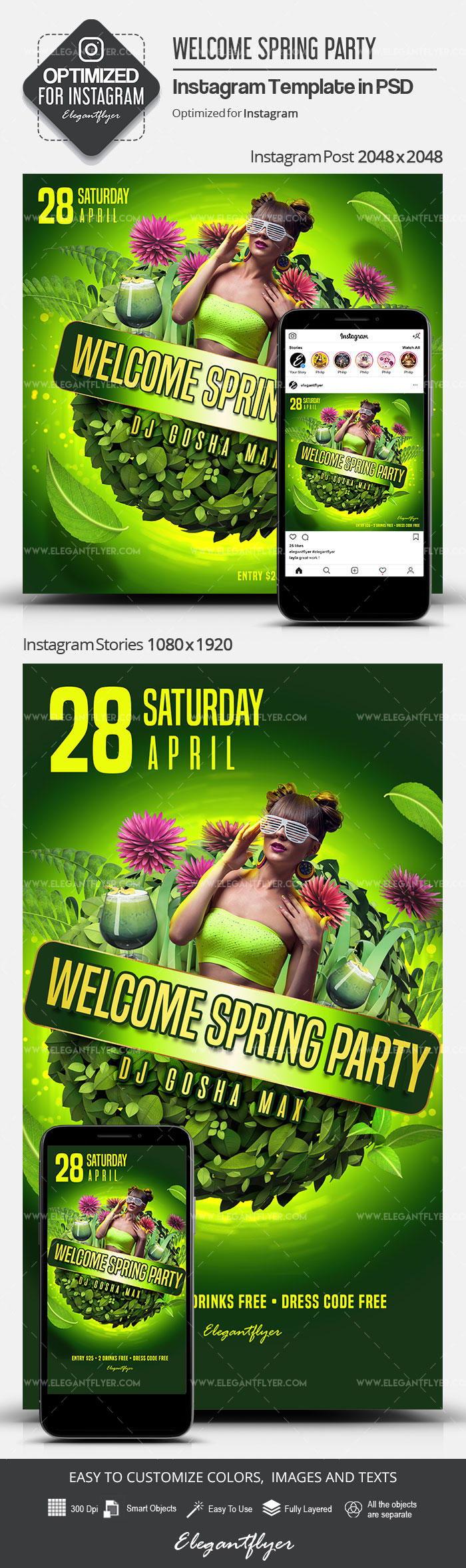 Welcome Spring Party – Instagram Stories Template in PSD + Post Templates