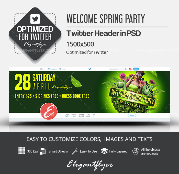 Welcome Spring Party – Twitter Header PSD Template