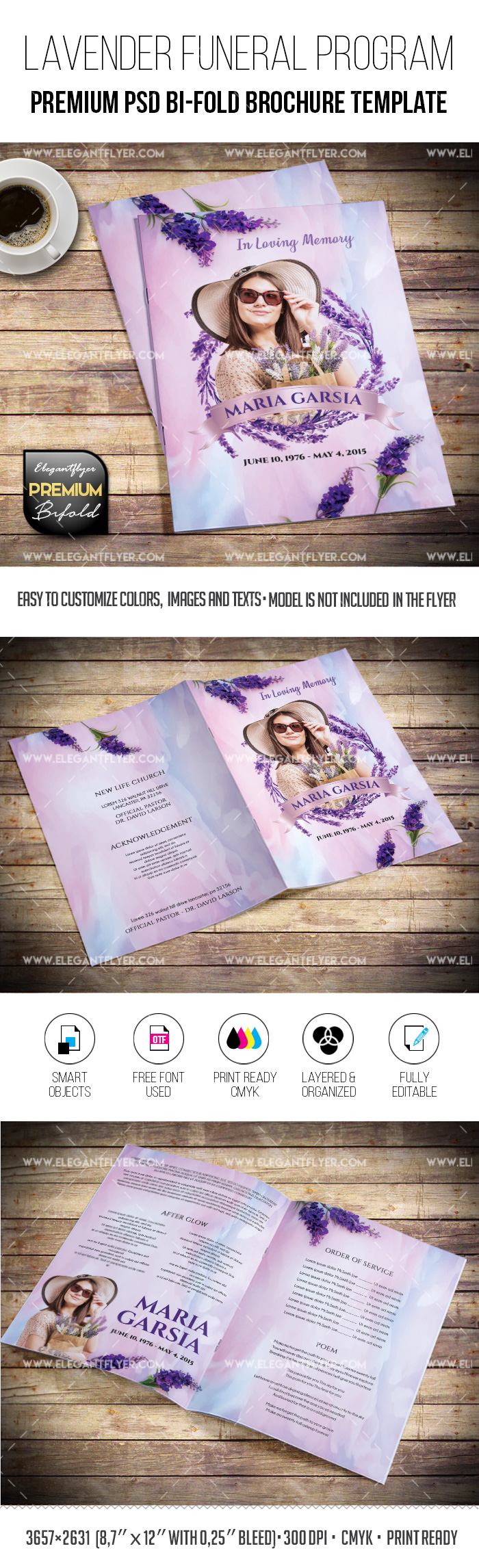 Lavender-colored Funeral Program PSD Template