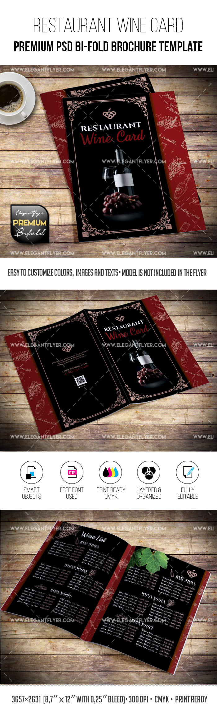Restaurant Wine Card – Bi-Fold Brochure