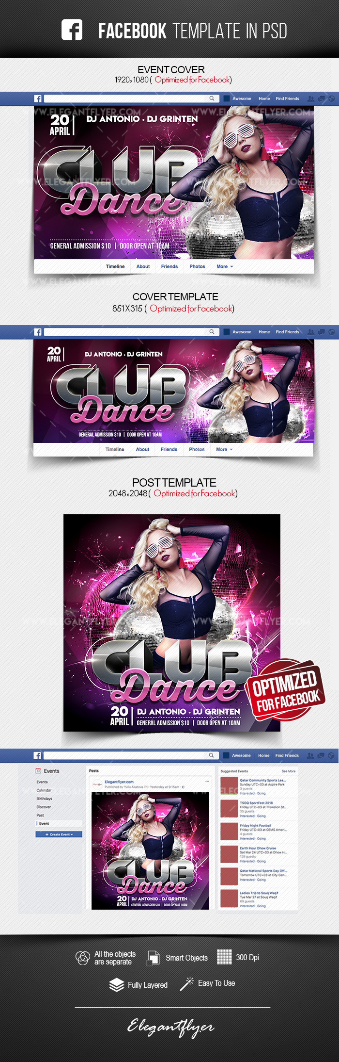 Club Dance – Facebook Cover Template in PSD + Post + Event cover