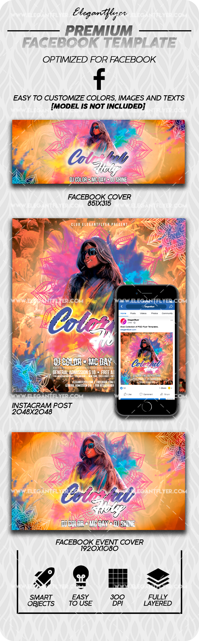 Colorful Holi – Facebook Cover Template in PSD + Post + Event cover