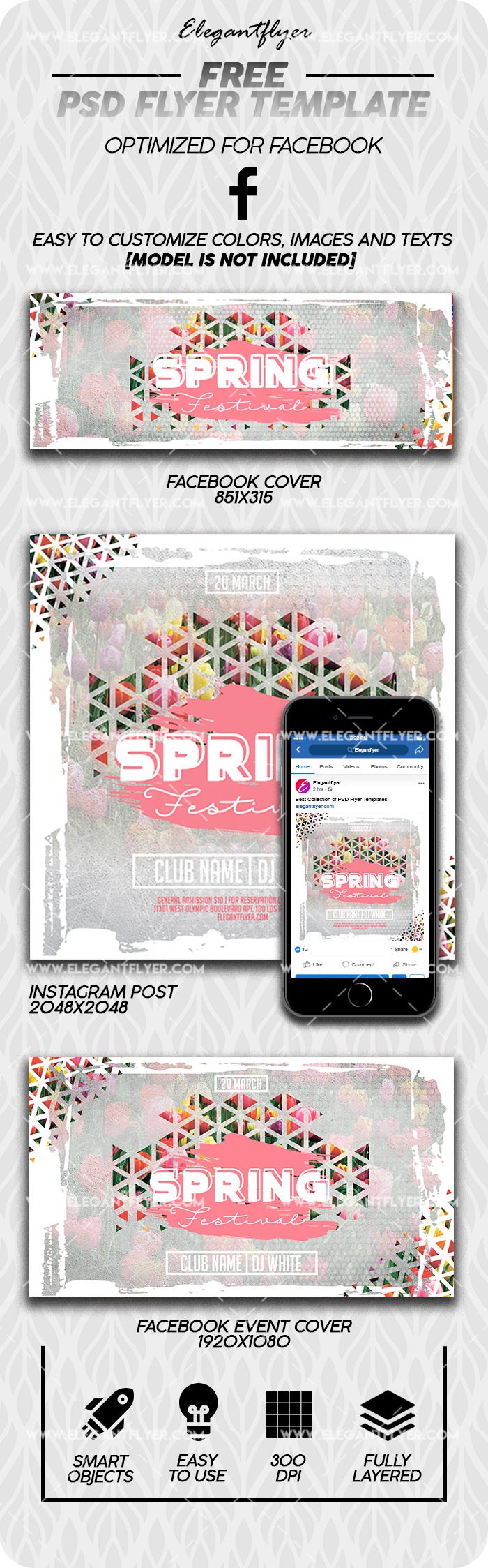 Spring Festival – Free Facebook Cover Template in PSD + Post + Event cover